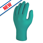 Skytec Teal Nitrile Powder-Free Disposable Gloves Green Medium Pk100