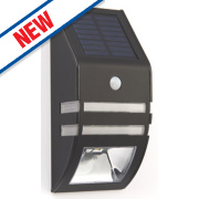 LAP Solar Matt Black Solar LED Wall Light 0.5W