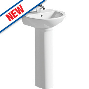 Grove Full Pedestal Cloakroom Basin 1 Tap Hole 450mm