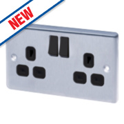 LAP 13A 2-Gang SP Switched Plug Socket Brushed Stainless Steel