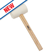 Forge Steel Ash Wood Handle White Rubber Mallet 16oz