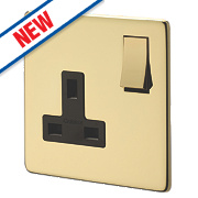 Crabtree 1-Gang DP Switched Socket Polished Brass Flat Plat
