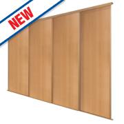 Spacepro 4 Door Panel Sliding Wardrobe Doors Beech 2390 x 2260mm