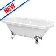 Freestanding Roll Top Bath Acrylic 2 Tap Holes 1690mm