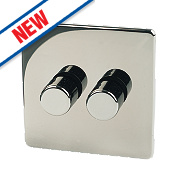 Crabtree 2-Gang 2-Way 250W Dimmer Black Nickel