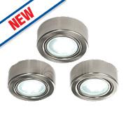 Saxby Hera LED Round Cabinet Downlight Kit Satin Nickel Pack of 3