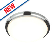 Saxby Delaware LED Flush Ceiling Light Chrome 20W