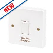 Crabtree 20A 1G Washing Machine Switch White Pack of 10