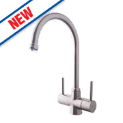 Swirl Fresco Double Lever Mono Mixer Kitchen Tap Silk Steel