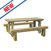 Forest Sleeper Garden Table & 2 x Benches 1800 x 700 x 750mm