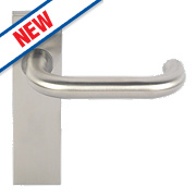 Eurospec Safety Lever on Backplate Latch Pair Satin Stainless Steel