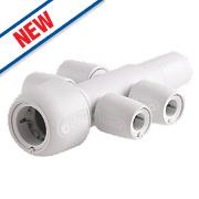 Hep2O Push-Fit 4-Port Manifold Socket/Blank Spigot 22 x 10mm