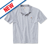 "Carhartt K570 Work Pocket Polo Shirt Heather Grey Medium "" Chest"