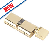 Eurospec Keyed Alike Oval Cylinder Thumbturn Lock 30-30 (60mm) Polished Brass