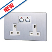 Energenie MiHome 13A 2-Gang SP Switched Socket Brushed Steel
