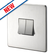 Crabtree 2-Gang 2-Way 10AX Light Switch Brushed Chrome