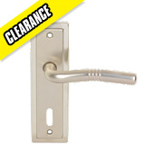 Urfic Nevada Lock Door Handle Pair Satin Nickel