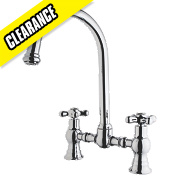 Swirl Sink-Mounted Traditional Bridge Mixer Kitchen Tap Chrome