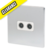 LAP 2-Gang Coaxial Socket Flat Plate Brushed Chrome with White Insert