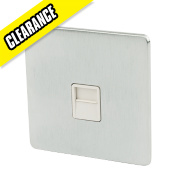 Crabtree 1-Gang Telephone Slave Wht Ins Brushed Chrome