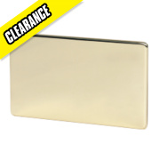 Crabtree 2-Gang Blank Plate Polished Brass Flat Plate