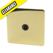 Crabtree TV Socket Polished Brass Flat Plate
