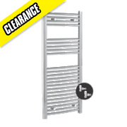 Kudox Curved Towel Rail & Angled Valves Chrome 1100 x 500mm 358W 1222Btu