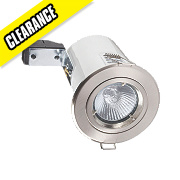 Robus Fixed Round Mains Voltage Fire Rated Downlight Brushed Chrome 240V