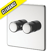 Crabtree 2-Gang 2-Way 250W Dimmer Polished Chrome Flt Plt