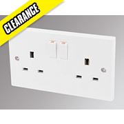 Marbo 13A 2-Gang SP Switched Plug Socket White