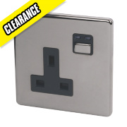 1G 13A Single Pole Switched Socket Black Nickel with Black Insert