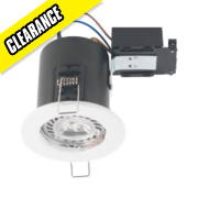 Robus Round Fire Rated Fixed Mains Voltage Downlight White 240V