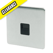 Crabtree 1-Gang Telephone Slave Socket Black Insert Brushed Chrome