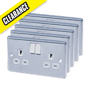 LAP 13A 2-Gang DP Switched Plug Socket Polished Chrome Pack of 5