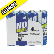 No Nonsense Rechargeable Batteries AA 1300mAh Pack of 4