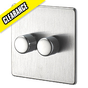 Crabtree 2-Gang 2-Way 250W Dimmer Brushed Chrome