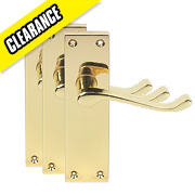 Short Back Victorian Scroll Door Handle Pack Polished Brass Effect
