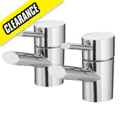 Bristan Oval Bathroom Basin Taps Chrome-Plated Pair