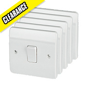 MK 1-Gang 2-Way 13A SP Light Switch White Pack of 5