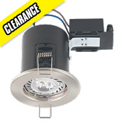Robus Round Fire Rated Fixed Mains Voltage Downlight Brushed Chrome 240V