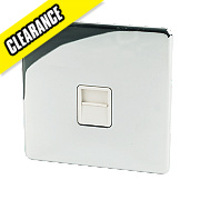Crabtree 1-Gang Telephone Slave Wht Ins Polished Chrome