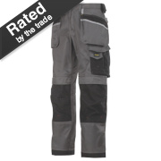 Snickers 3212 DuraTwill Trousers Grey/Black 36