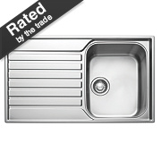 Franke Ascona Inset Sink S/Steel 1 Bowl & Reversible Drainer 860 x 510mm