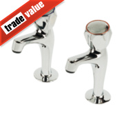 Swirl Contract Range High Neck Pillar Kitchen Taps Pair