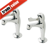 H and C Lever Pillar Kitchen Taps Pair