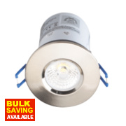 Robus 30, 60 & 90min Fire Rated Fixed LED Downlight IP44 Brushed Chrome 9W