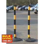 JSP Barrier Chain Support Posts & Bases Yellow & Black Pack of 2