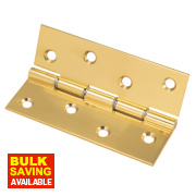 Washered Hinge Polished Brass 102 x 67mm Pack of 2