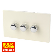 Varilight White Choc 3-Gang 1/2-Way Push 3 x 250W Dimmer