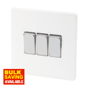 Varilight 3-Gang 2-Way 10A Ice White Metal Rocker Switch